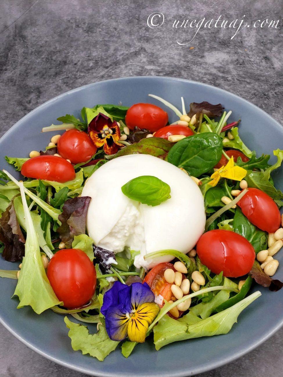 Sallatë me djathë Burrata dhe domate të vogla